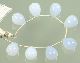 Smooth Polished Chalcedony Drop Briolette Focal Bead