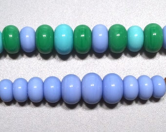 21 Periwinkle, Turquoise &Green Grass Spacer Pairs - Handmade Lampwork Glass Beads SRA