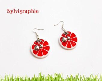 Cherry and blood orange earrings