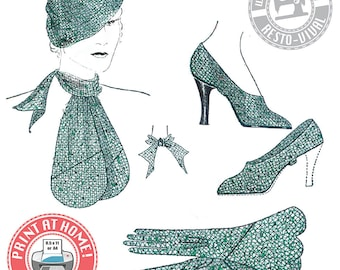 E-pattern- 1930s Accessories- Hat, Gloves, Scarf, and Spats- Wearing History PDF Vintage Sewing Pattern