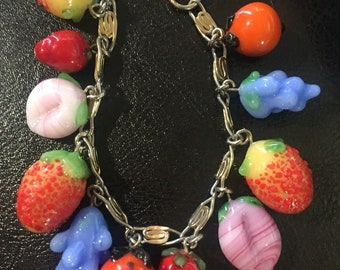 Colorful Glass Mix Fruits Charm Bracelet Grapes peach strawberry and more