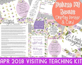 April 2018 Visiting Teaching Deluxe Kit, LDS Printables, Relief Society, Handouts, Lessons, Quotes, Greeting Card,  INSTANT DOWNLOAD