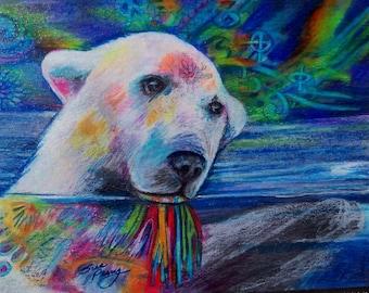 original art  drawing bear lights   northern lights11x14 polar bear  colorful  zentangle