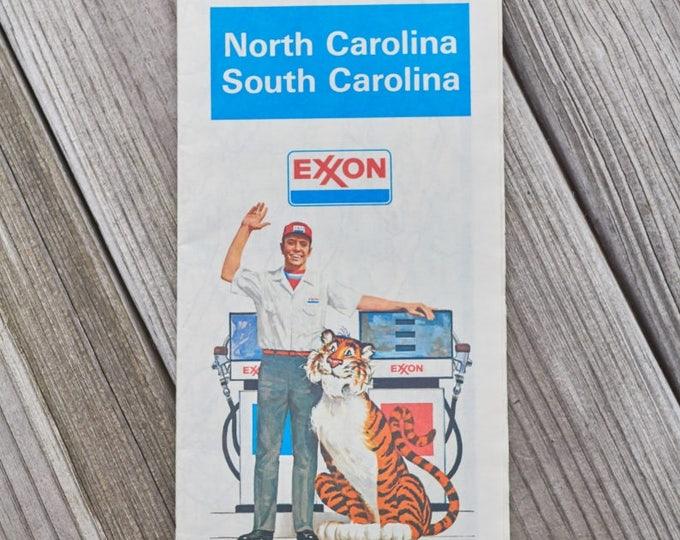 Vintage Exxon map for North Carolina and South Carolina 1980