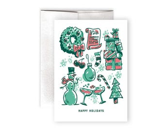 Christmas Card - Happy Holidays Card - Illustrated Christmas Card - Snowman Card - Wreath Card - Christmas Cards - Holiday Cheer Card