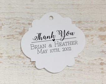 Thank You Wedding Favor Tags, Personalized Gift Tags, Favor Bag Tag, Wedding Thank You Tags, Bridal Shower, Thank You Tags, Wedding Thanks