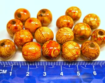 Beads Round Wood Mixed Patterns 17 Pieces Loose 12mm Wholesale Beading Jewelry Making Supplies DIY Crafts Destash L7