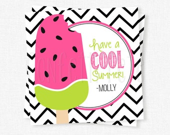 Watermelon Popsicle Tag, Have A Cool Summer Tag, End of School Year Tag, Last Day of School Gift Tag, Printable Popsicle Tag