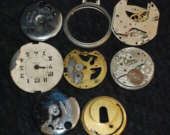 Destash Steampunk Watch Clock Parts Movements Assemblage Assortment Industrial Art Grab Bag AP 8