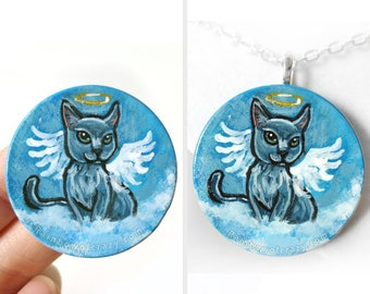 Cat Necklace, Russian Blue, Angel Jewelry, Pet Loss, Hand Painted Wood Pendant, Pet Keepsake Gift, Pet Memorial Gift for Her, Cat Painting