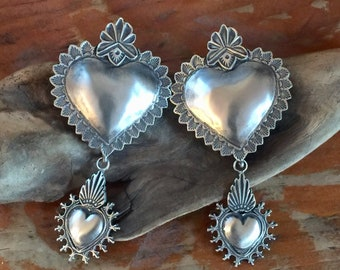 EBH7 The Santa Fe Heart repousse over the Mesilla Burning Heart sterling silver southwestern native style earrings