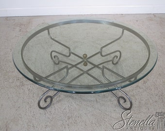 36211E: Quality Glass Top Steel Based Round Coffee Table