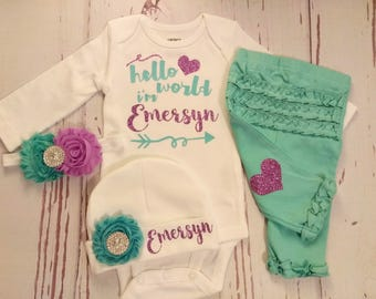 newborn, baby girl, coming home outfit, personalized, name, baby girl, baby girl outfit, baby girl coming home outfit, infant, newborn baby