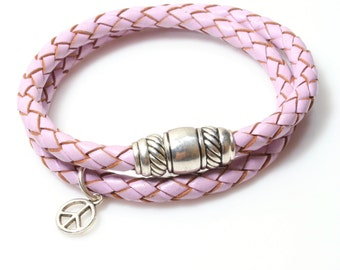 Leather Wrap Bracelet Light Purple / Lilac Braided Leather Bracelet / Magnetic Wrap Bracelet / Taylor