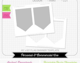 4.5 x 6.5 Pendant Flag Banner Template - INSTANT DOWNLOAD - PRINTABLE - Make your own party printables