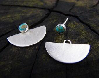 Little Turquoise Warrior 3-in-1 Silver Earrings