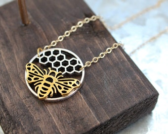 Bee Hive Necklace, Dainty Bee Necklace, Golden Bee Necklace, Bee Hive Jewelry, Bumble Bee Jewelry