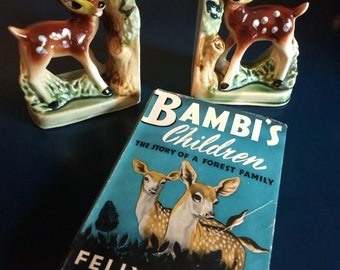 """Vintage Bambi bookends and classic 1939 tale """"Bambi's Children"""""""