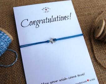 Congratulations Bracelet Make a Wish Bracelet ~ Star Charm Wishing Bracelet ~ Gift for Friend job promotion graduation gift for coworker