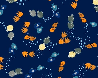 Noah's Ark Fish in Navy Blue fabric from the Noah's Story Collection by Swizzle Stick Studio for Studio E Fabric #3664-77