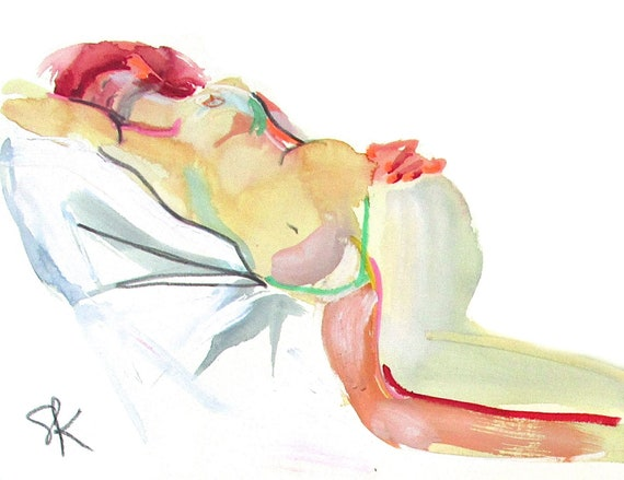 Nude painting- Original watercolor painting of Nude #1517 by Gretchen Kelly