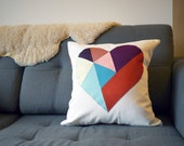 SALE: organic cotton / upcycled geometric heart patchwork pillow cover - colorful - 18""