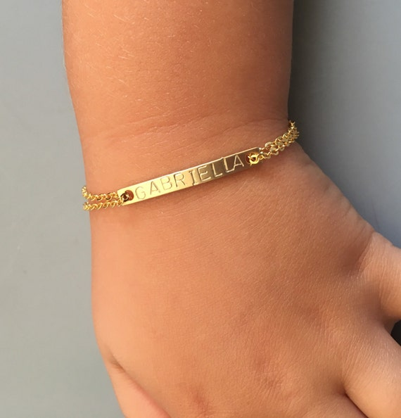 Kids ID BraceletChildrens Gold Name BraceletReverse