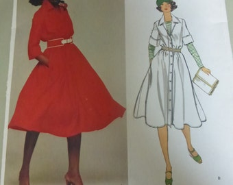 Vintage Vogue Pattern 1386 American Designer Original  All Klein Shirtwaist Misses Size 12  Factory Fold
