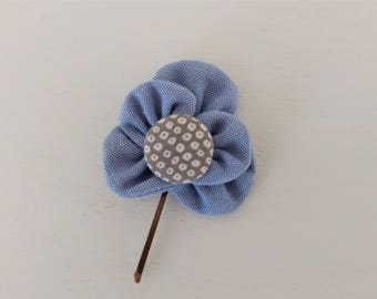 Bobby Pin with Blue Fabric Flower and Covered Button Center