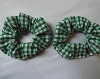 2 x green and white gingham check school uniform MINI hair scrunchies