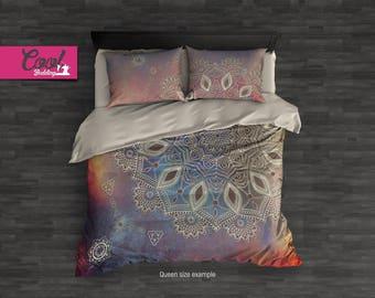 Chic Home Mandala Duvet Cover Set, Boho Chic Comforter Set, Bohemian Bedding Set, King, Queen Duvet, Pillow Covers 25