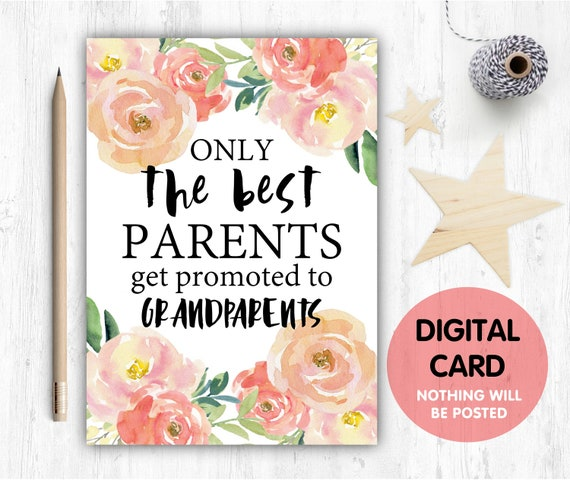 PRINTABLE pregnancy reveal, I'm pregnant, you're going to be grandparents, only the best parents get promoted to grandparents, baby reveal