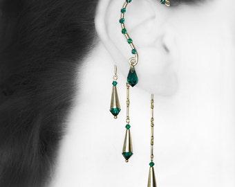 Green Swarovski Crystal Ear Wrap, No Piercing, Cartilage Jewelry, Statement Earring, Emerald Swarovski Crystal, Bridal Jewelry,  v11
