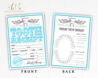 Printable Tooth Fairy Receipts Blue - Digital File - New Baby Kids Children Gift Boy or Girl - Teeth Dentist - First Lost Tooth Keepsake