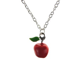 Apple pendant etsy red apple necklace kitsch fruit jewelry cute quirky teacher gift snow white retro red charm rockabilly food necklace aloadofball Images