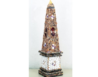 "Beautiful Hand Made Obelisk Cover in Real Shells 23"" Tall"
