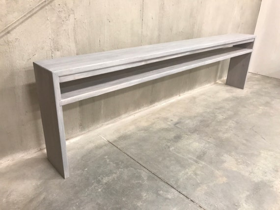 Driftwood Grey counter style console Sofa Entry Hall Table with shelf