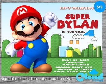 Super Mario Birthday Invitation, Super Mario Birthday, Super Mario Invites, Birthday Printables, Mario Invitation