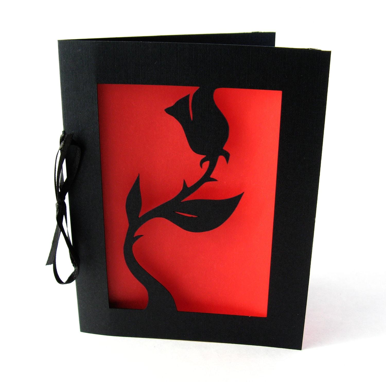 Black Rose Valentine Card Red And Black Cut Paper Silhouette