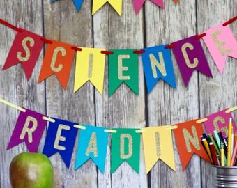 classroom banner, teacher banner, classroom sign, classroom decoration, teacher decor, ABC banner, school banner, science, reading, math