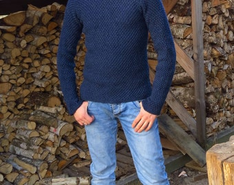blue hand-knit sweater 100% natural wool