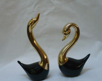 blown glass Murano swans, black w hand dipped gold accents, Italy 1970s, Art glass swan figurines.