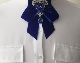 Luxurious Royal Blue Velvet Bow Tie / Choker / Necklace / Scarf / Neckwear / Fashion Accessory