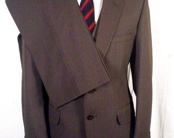 NWOT Richard Thomas vtg Grayish Brown Pinstriped 3 Pc Business Suit vested 39 S