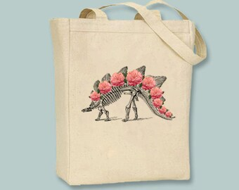 Stegosaurus Dinosaur Skeleton with Roses Vintage Illustration Canvas Tote -- selection of sizes available