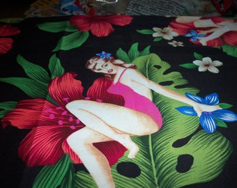 Pin Up Girls Fabric Hibiscus Black Background By The Yard New BTY