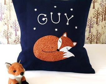 Sleeping fox personalised cushion - wildlife nursery decor - scandi nursery - animal cushion - gift for fox lover - constellation - woodland