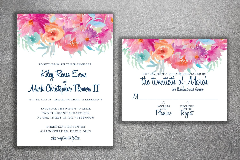 Floral Wedding Invitation, Flower Wedding Invitations, Vintage ...