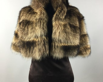 Luxury gift/ Racoon brown fur stole/ Wedding,or anniversary present