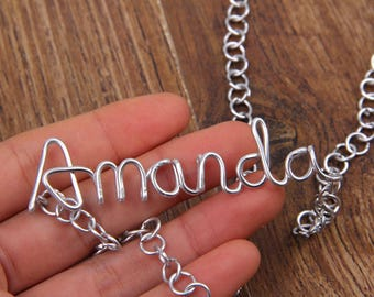 Silver Custom Name Necklace, Personalized Name Wire Necklace, Amanda Wire Word Name Pendant Necklace